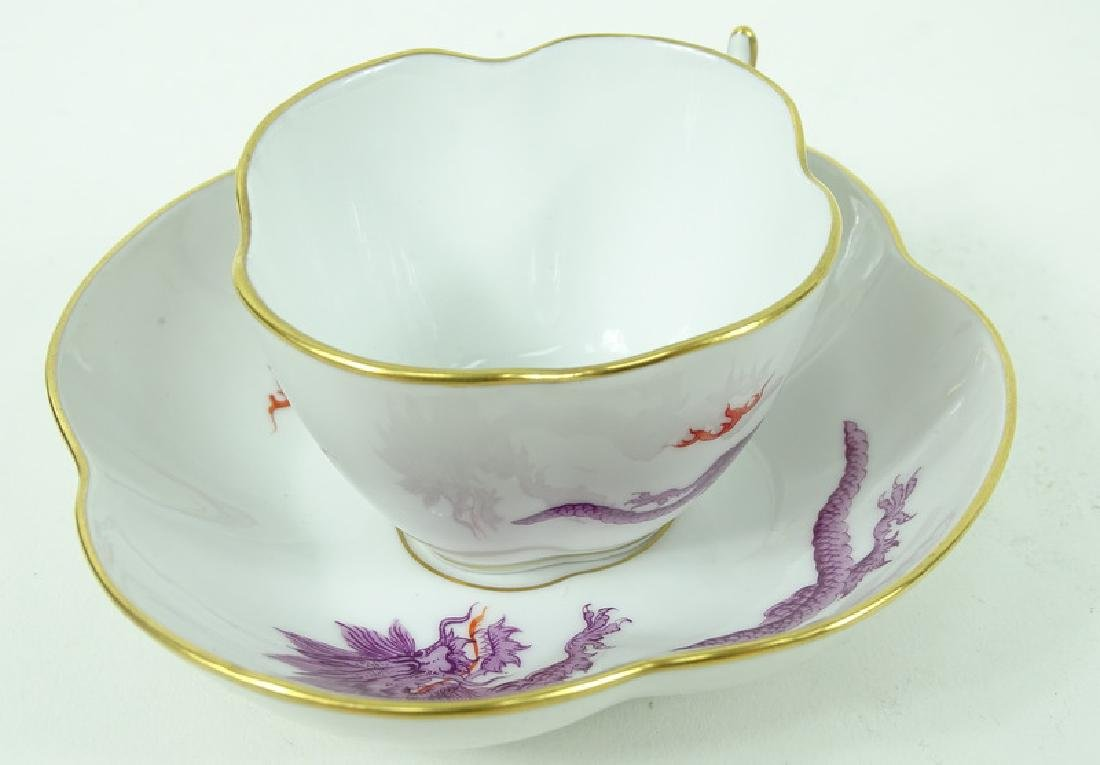 Antique Meissen German Porcelain Teacup & Saucer - 2
