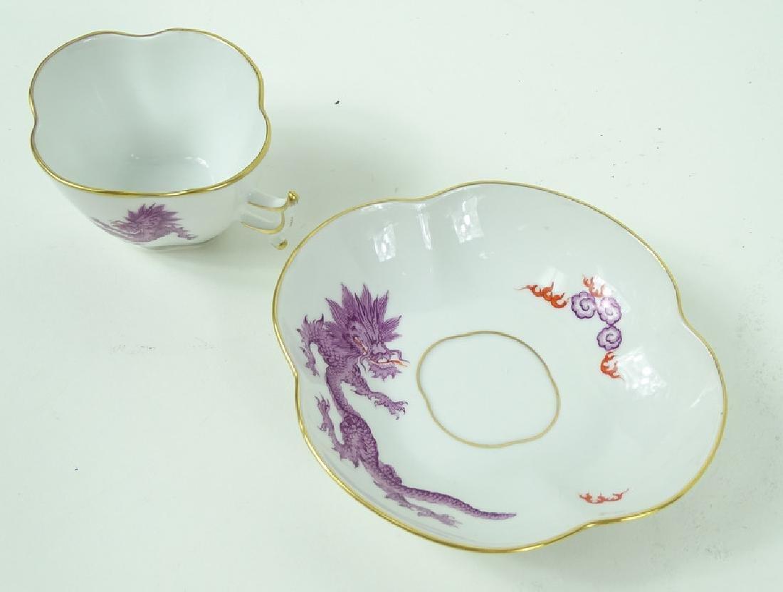 Antique Meissen German Porcelain Teacup & Saucer - 3