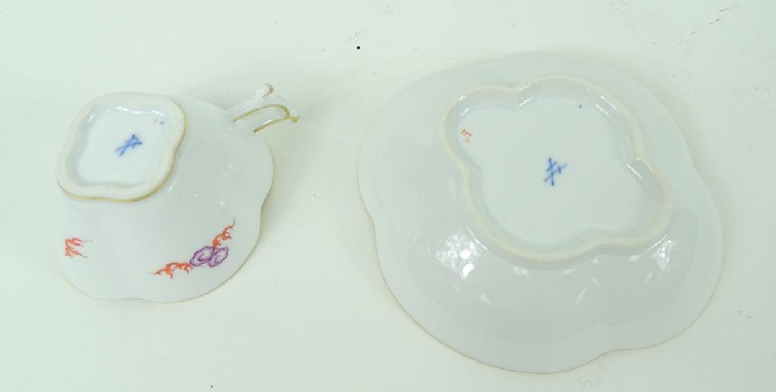Antique Meissen German Porcelain Teacup & Saucer - 5