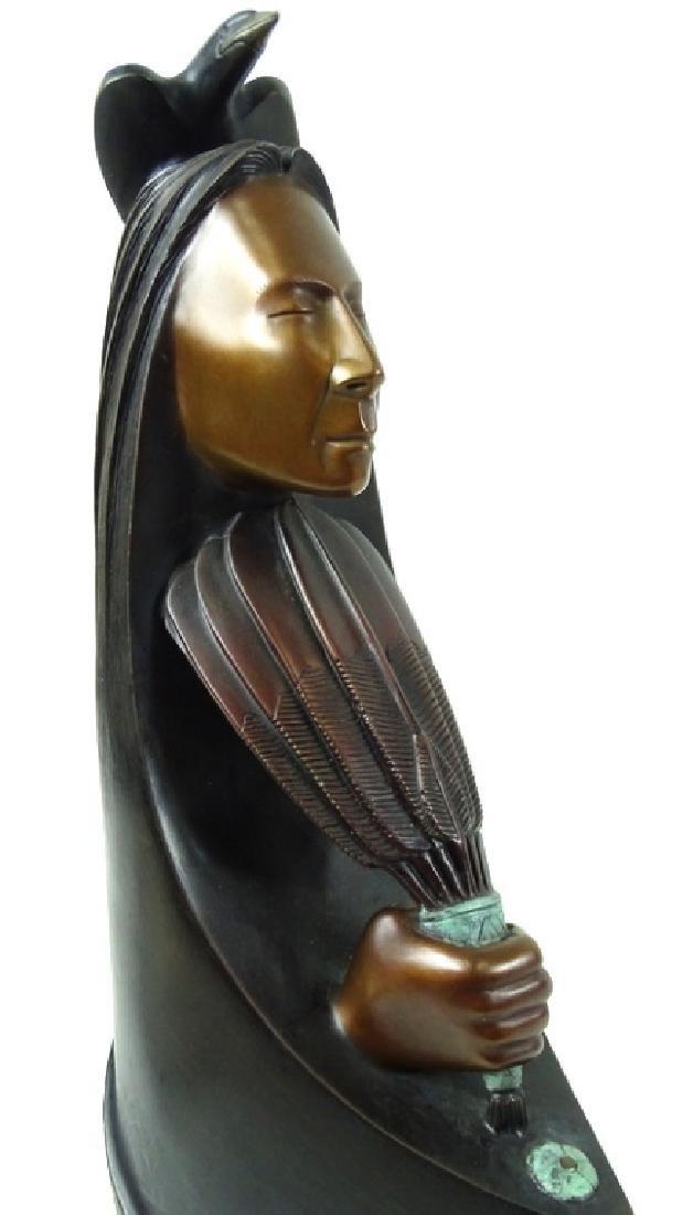"L.Yazzie ""Talking To The Creator"" Bronze Sculpture - 2"
