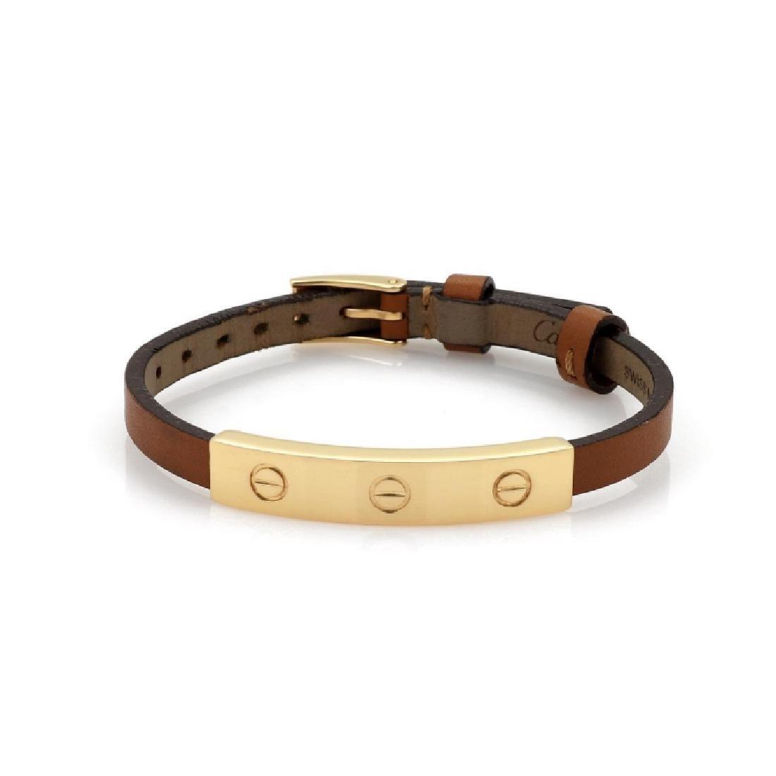 Cartier Love 18k Gold Slide Bar Leather Bracelet