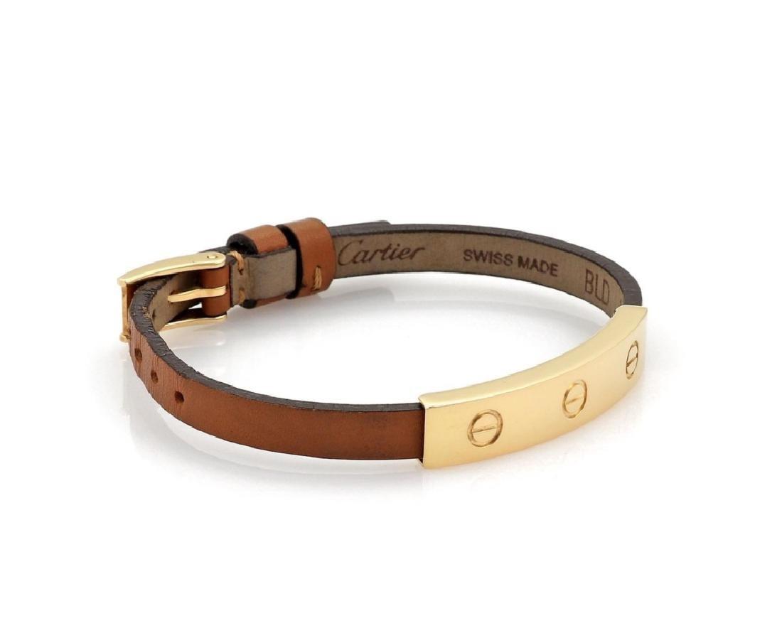 Cartier Love 18k Gold Slide Bar Leather Bracelet - 2