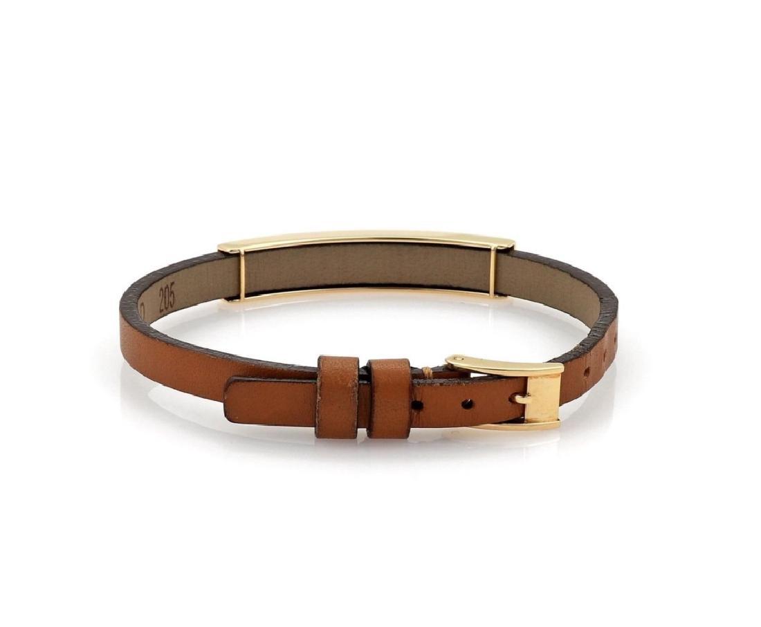 Cartier Love 18k Gold Slide Bar Leather Bracelet - 3