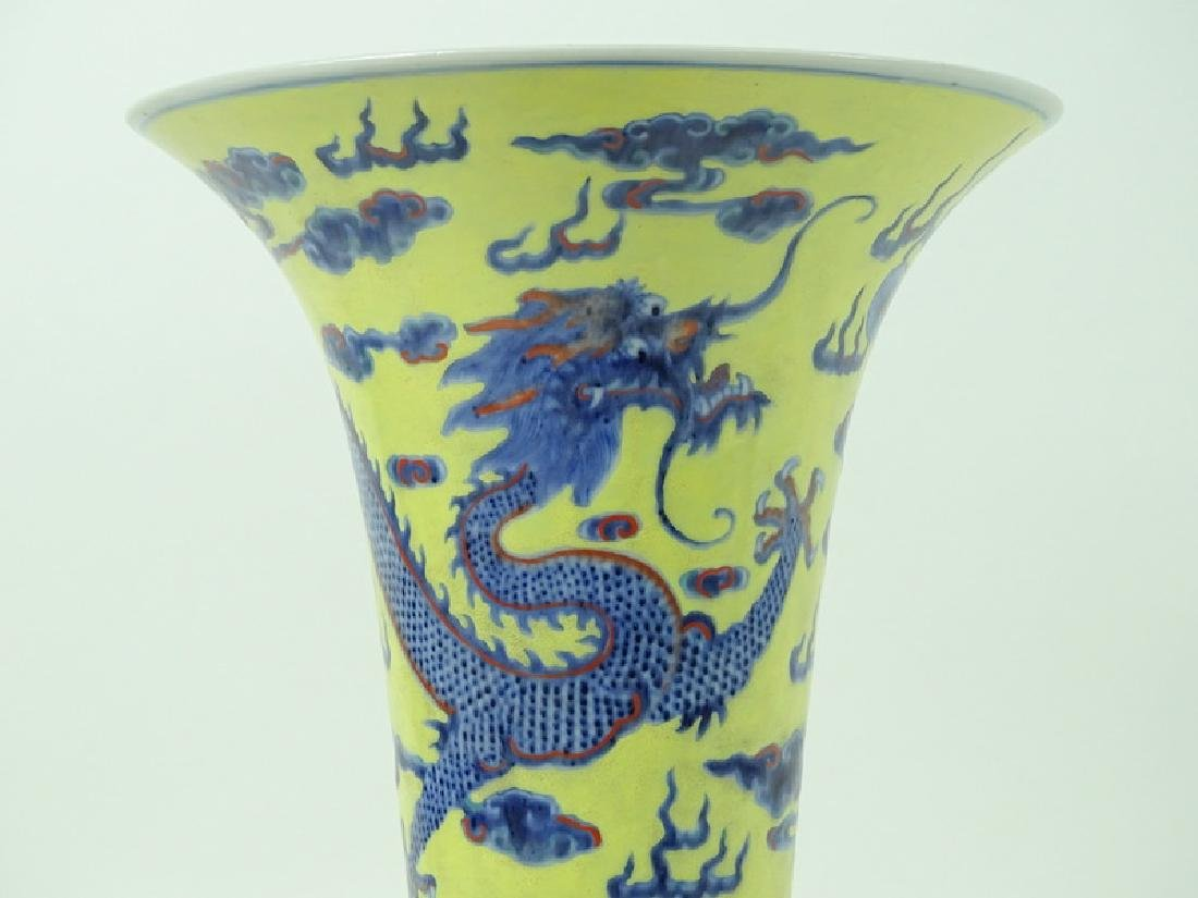 Antique Chinese Hand Painted 5 Toe Dragon Vase - 2