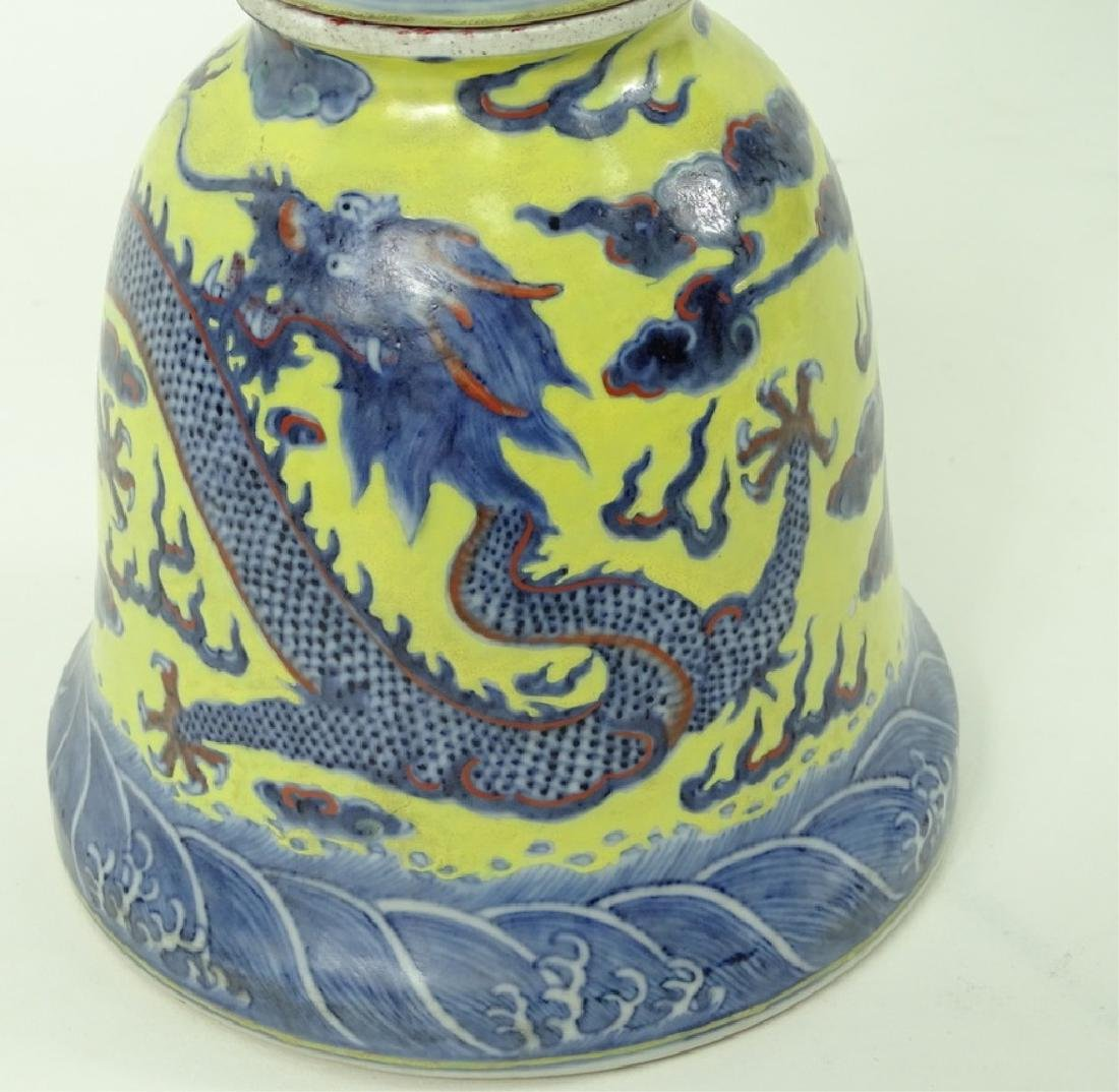 Antique Chinese Hand Painted 5 Toe Dragon Vase - 3