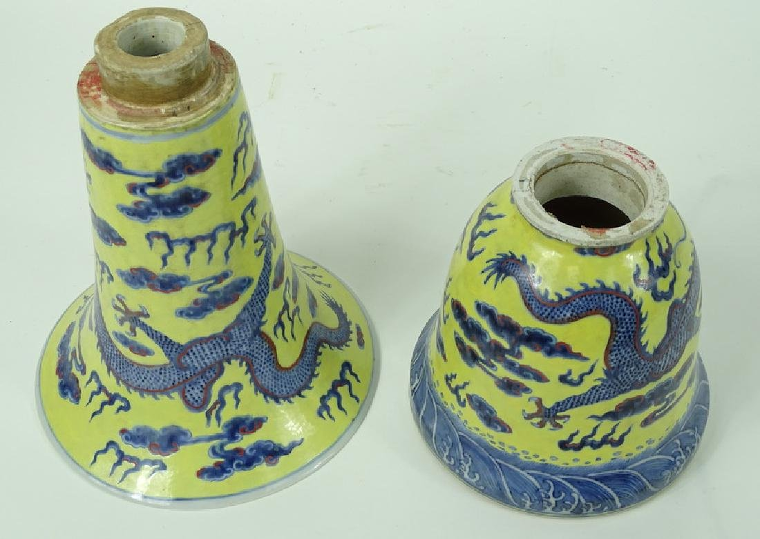 Antique Chinese Hand Painted 5 Toe Dragon Vase - 5