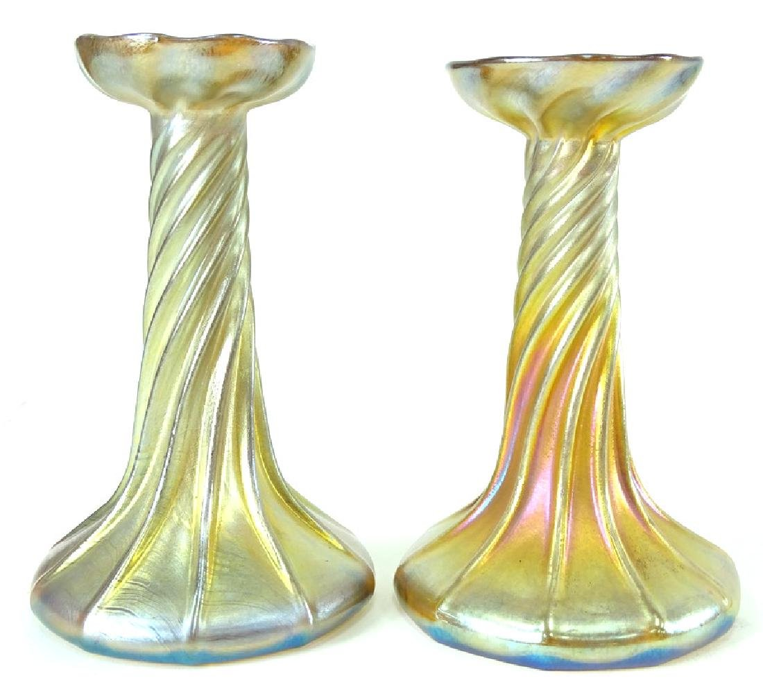 Tiffany Favrille Art Glass Candlestick Holders