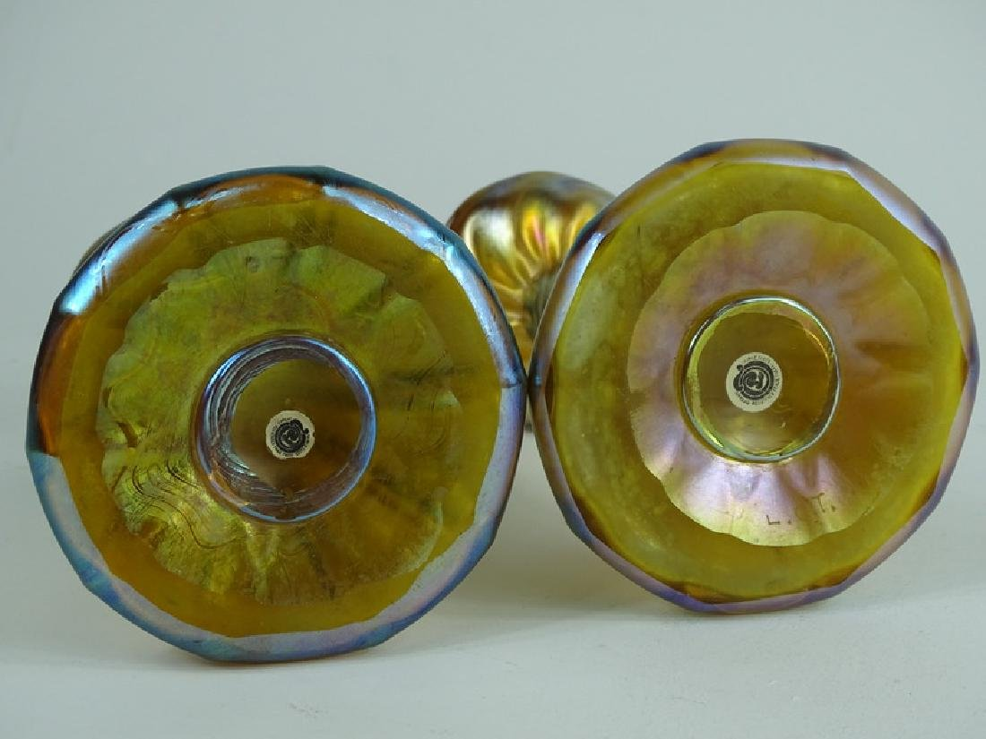 Tiffany Favrille Art Glass Candlestick Holders - 2
