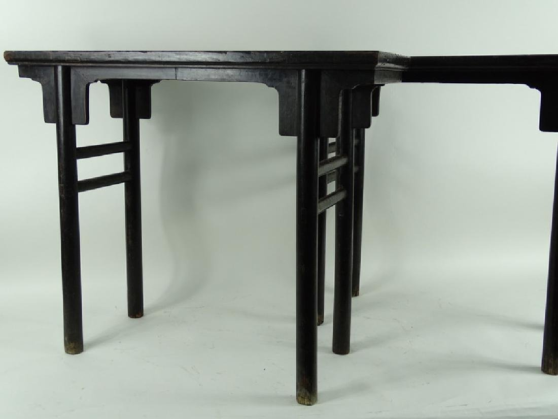 (2) Pair Chinese Zitan Wood Altar Console Table - 3