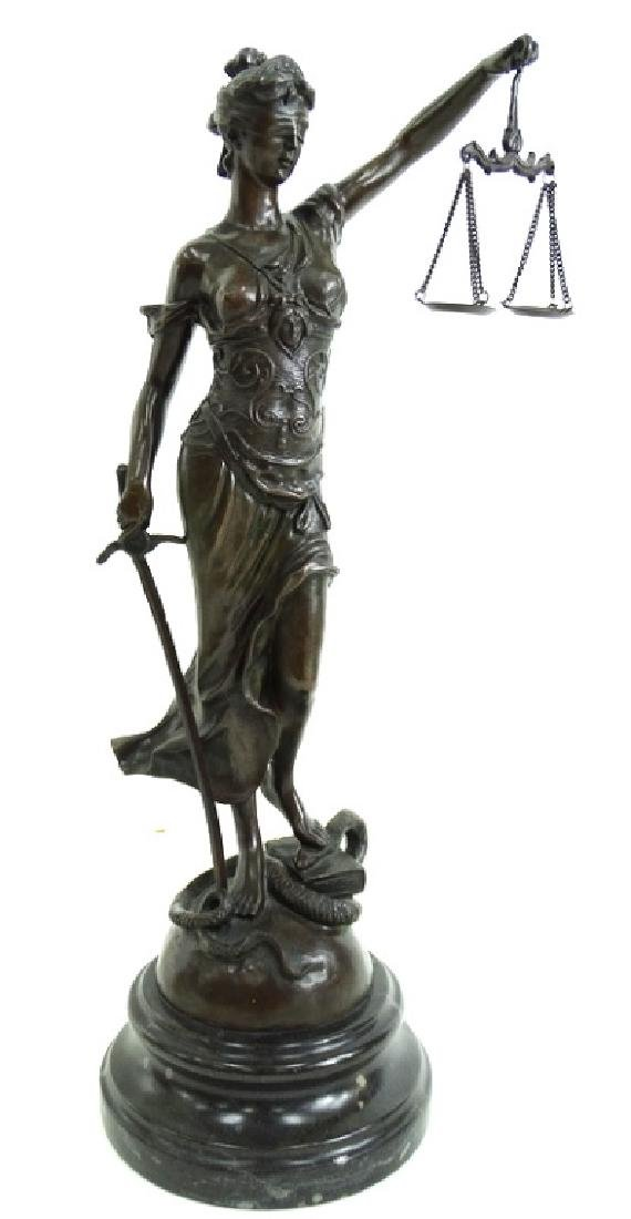 Signed Joan of Arc Lady Justice French Bronze