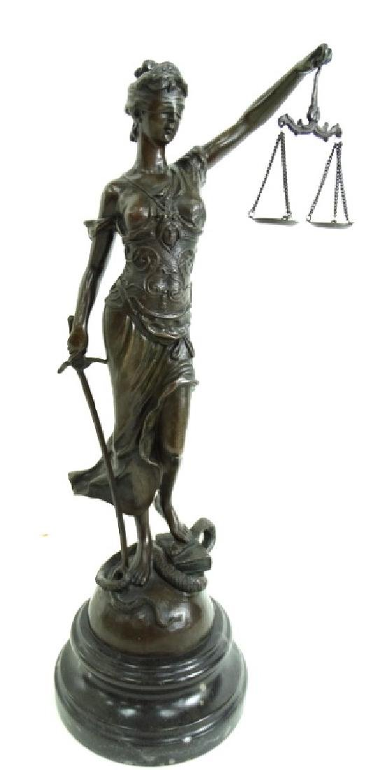 Signed Joan of Arc Lady Justice French Bronze - 2