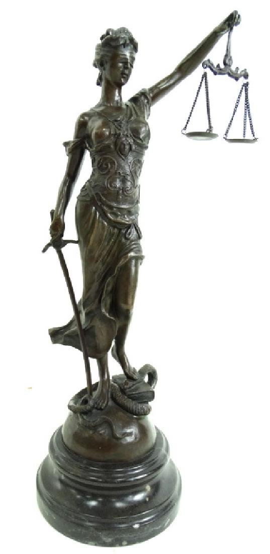 Signed Joan of Arc Lady Justice French Bronze - 3
