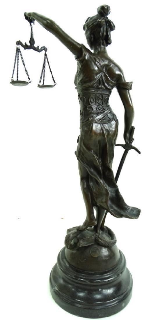 Signed Joan of Arc Lady Justice French Bronze - 6