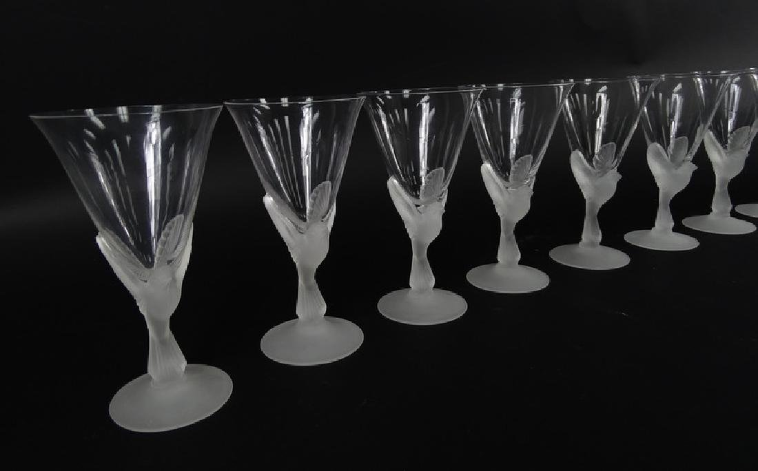 12 Lalique Style Sparrow Frosted Crystal Glasses - 3