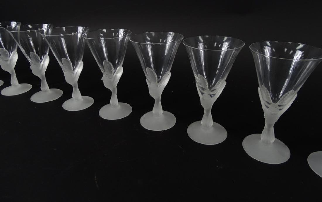 12 Lalique Style Sparrow Frosted Crystal Glasses - 4