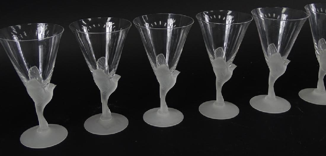 12 Lalique Style Sparrow Frosted Crystal Glasses - 5