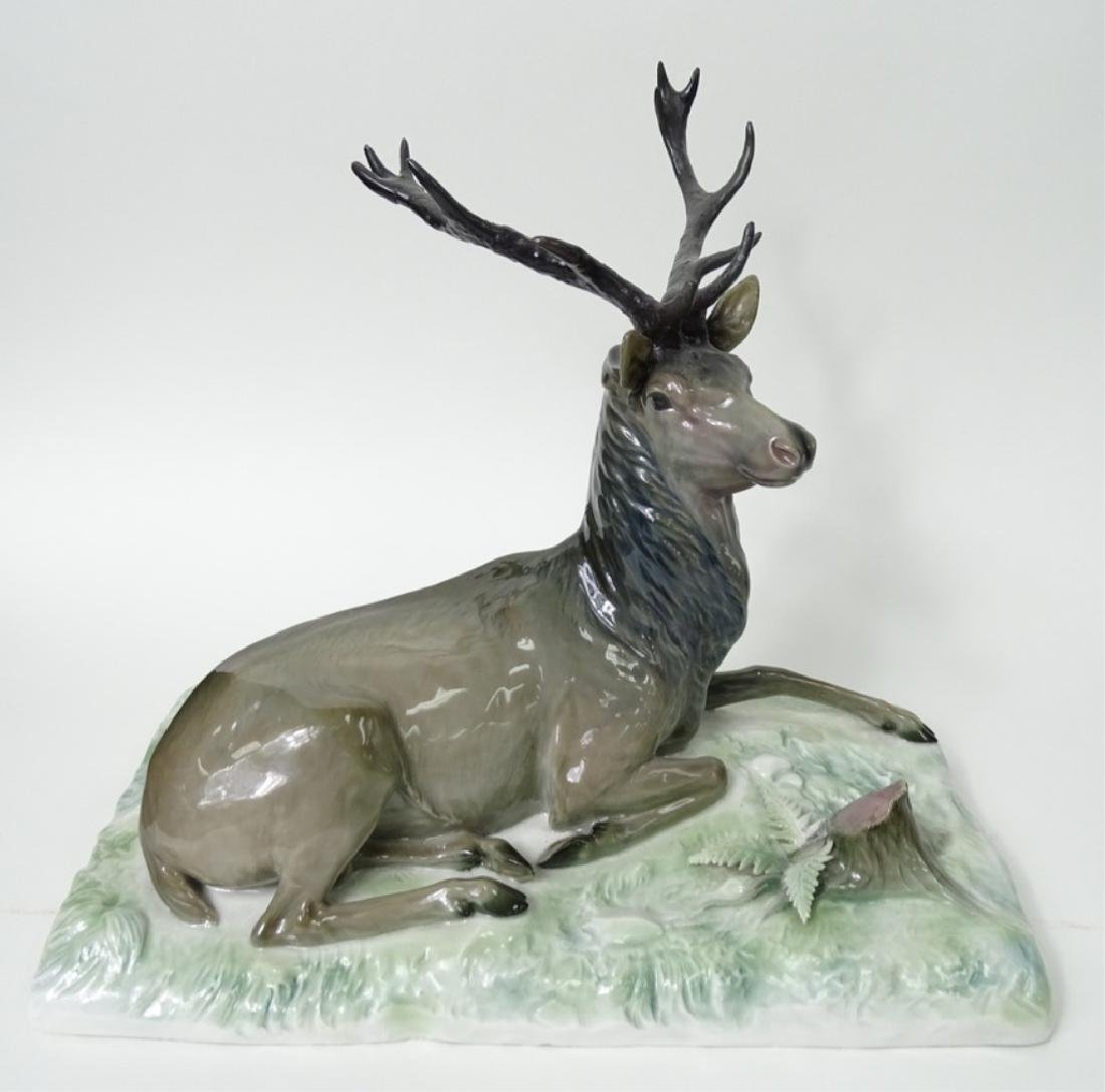 Large Meissen German Porcelain Deer/Stag Sculpture