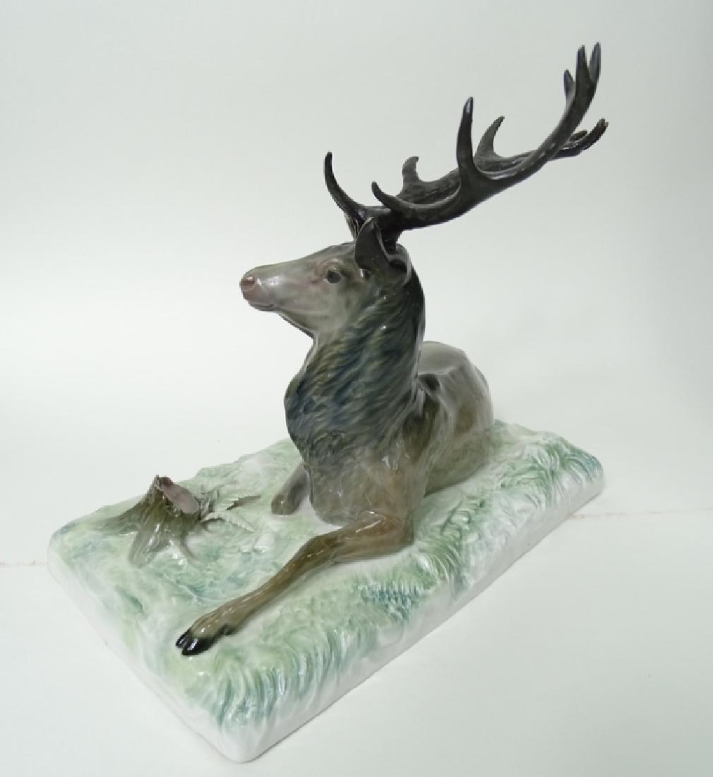 Large Meissen German Porcelain Deer/Stag Sculpture - 5