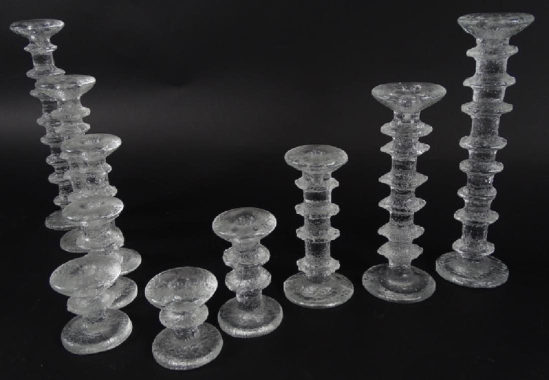 Tapio Wirkkala Scandinavian Art Glass Candlesticks - 4