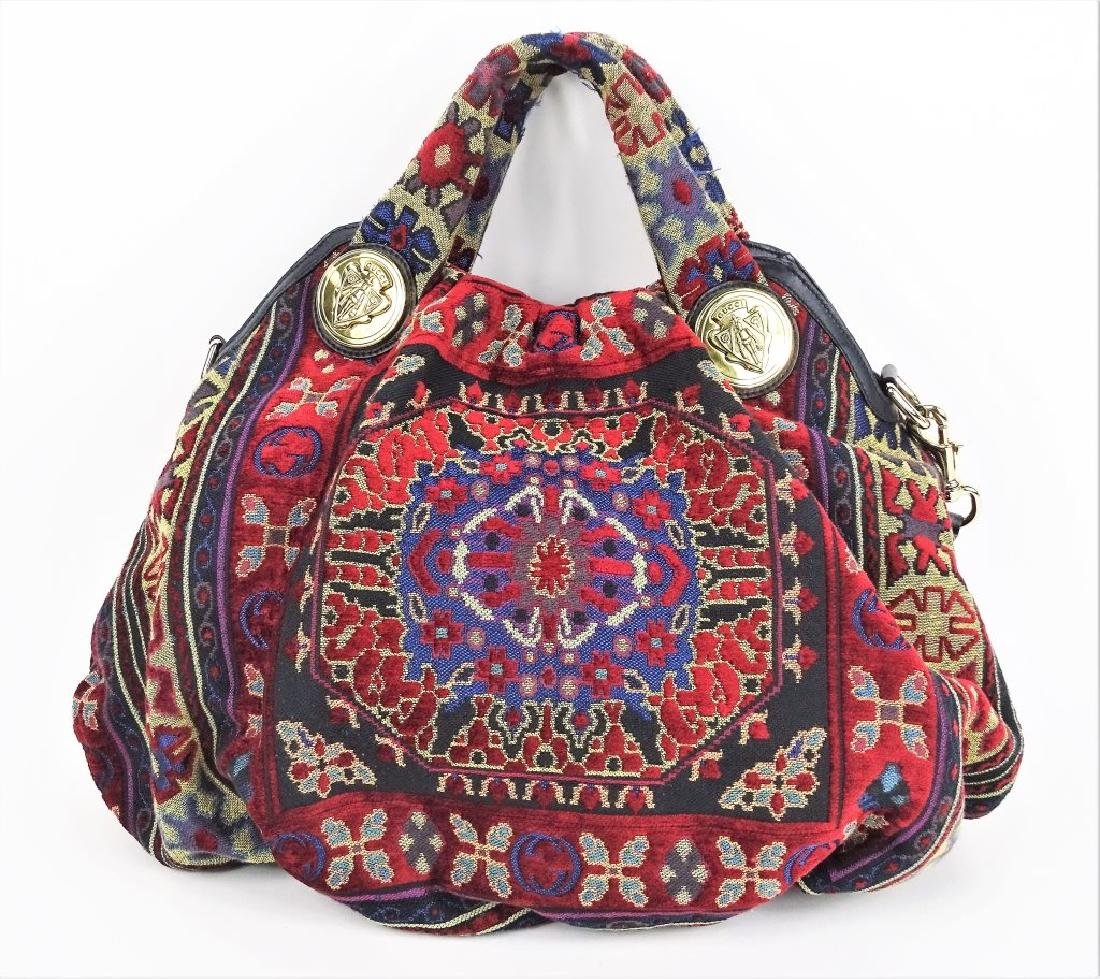 Gucci GG Hysteria Tapestry Satchel Hobo Hand Bag