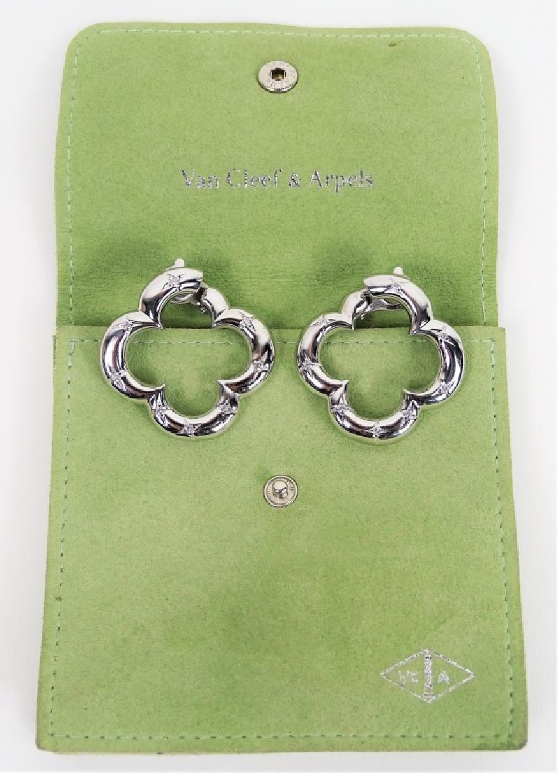 VCA 18K White Gold & Diamond Alhambra Earrings