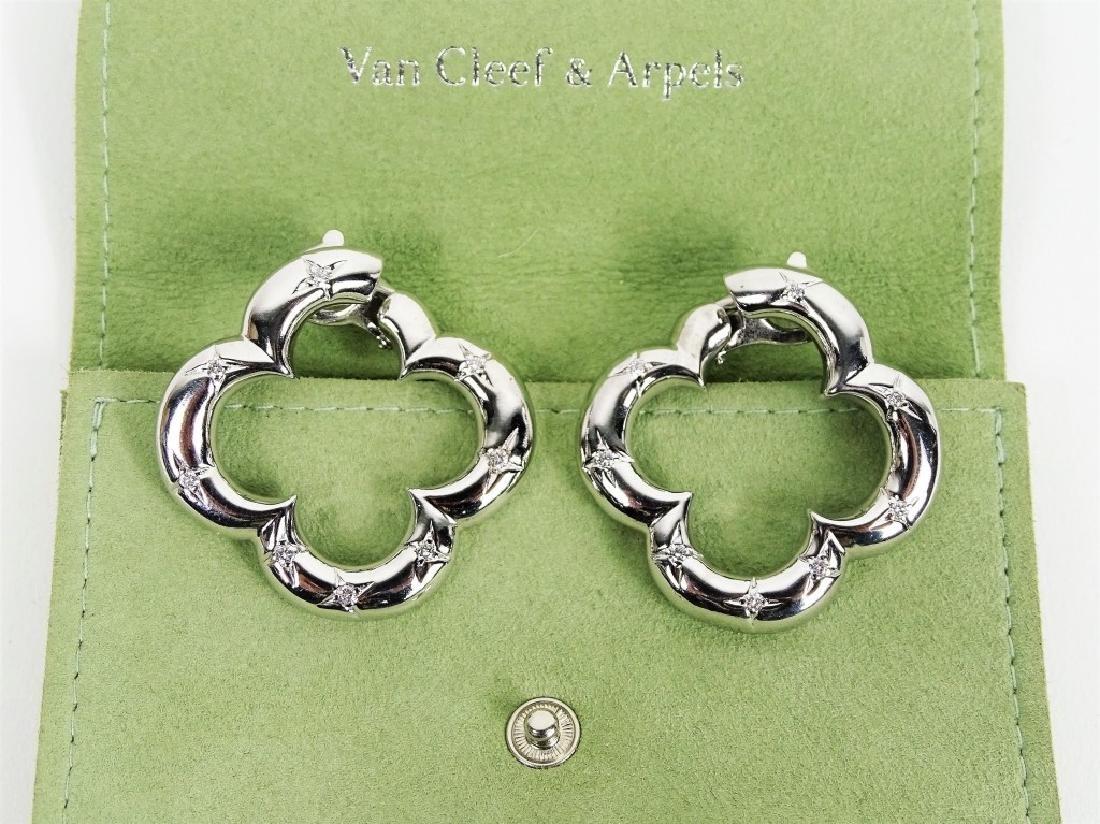 VCA 18K White Gold & Diamond Alhambra Earrings - 2