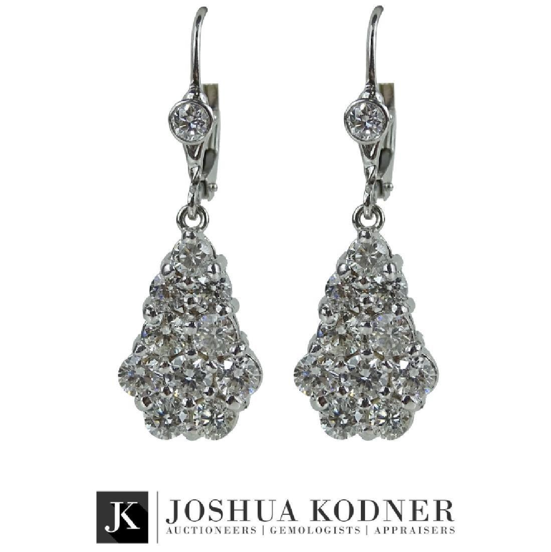 Ladies 3.00 CT Diamond Dangle Earrings