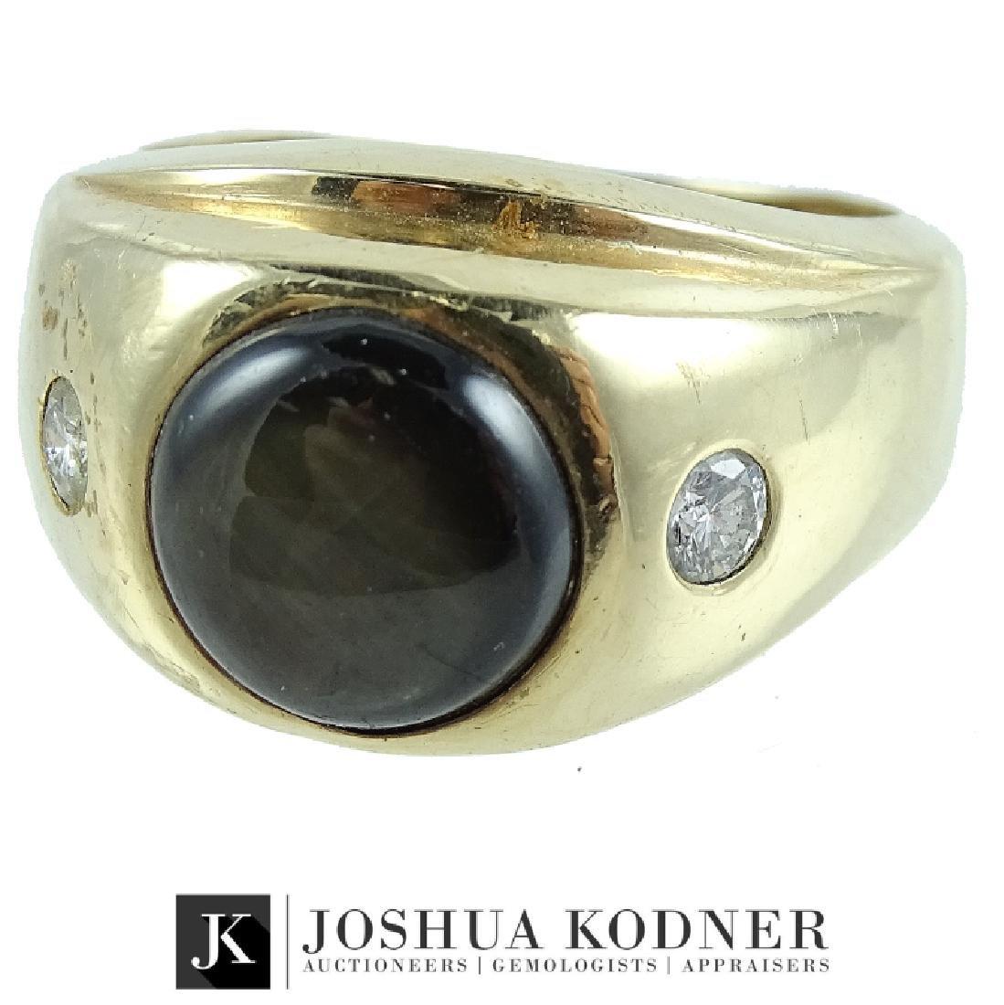 Vintage Mens 14K Black Star Sapphire Diamond Ring.