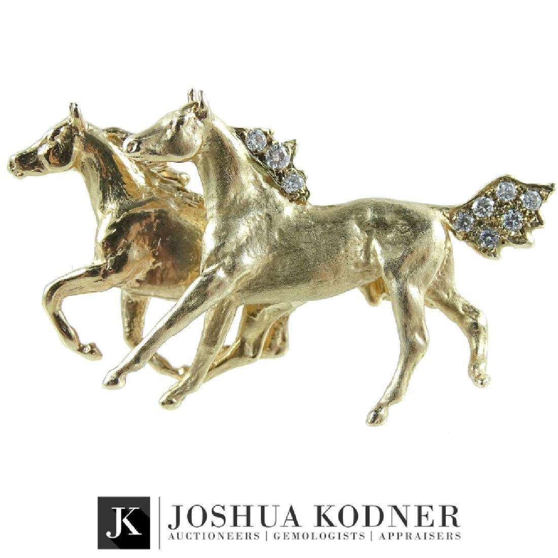 14K Diamond Horse Brooch Pin.