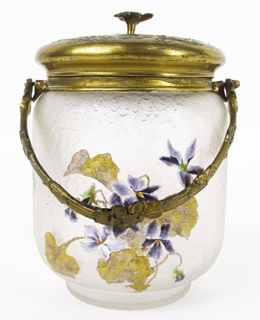 Antique French Enameled Floral Glass Biscuit Jar