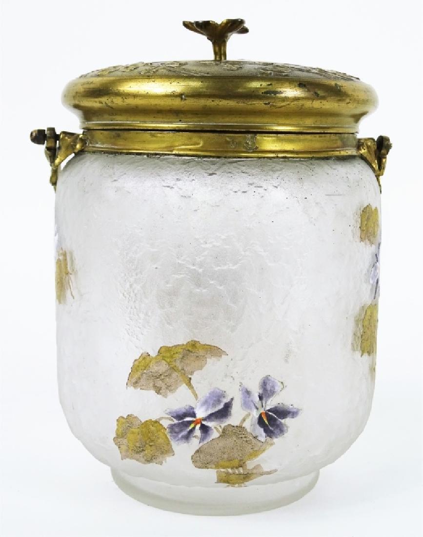 Antique French Enameled Floral Glass Biscuit Jar - 3