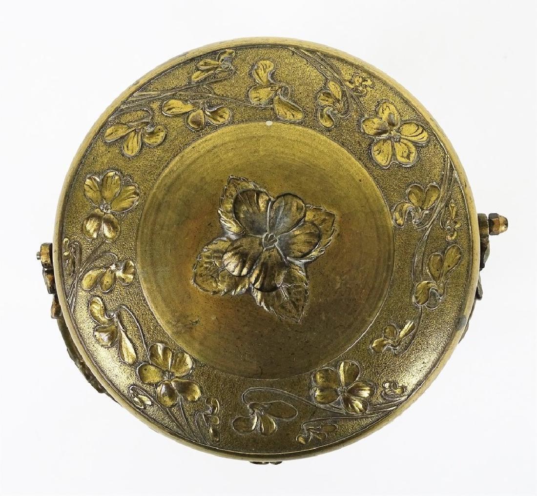 Antique French Enameled Floral Glass Biscuit Jar - 4