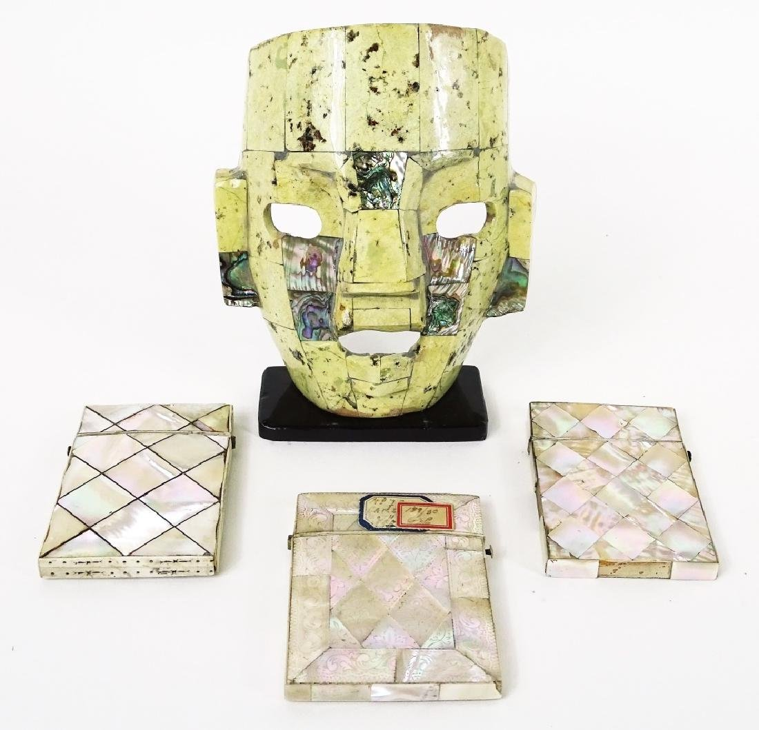 Carved Mother of Pearl Inlaid Mask & Card Cases