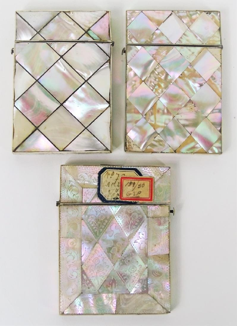 Carved Mother of Pearl Inlaid Mask & Card Cases - 3