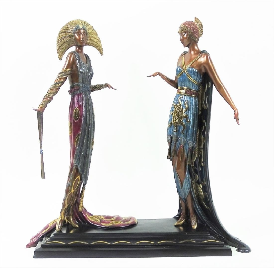 Rare Erte Bronze Statue Sculpture 'Two Vamps'
