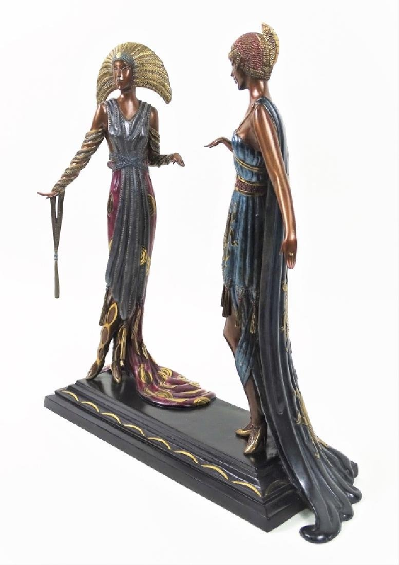 Rare Erte Bronze Statue Sculpture 'Two Vamps' - 3