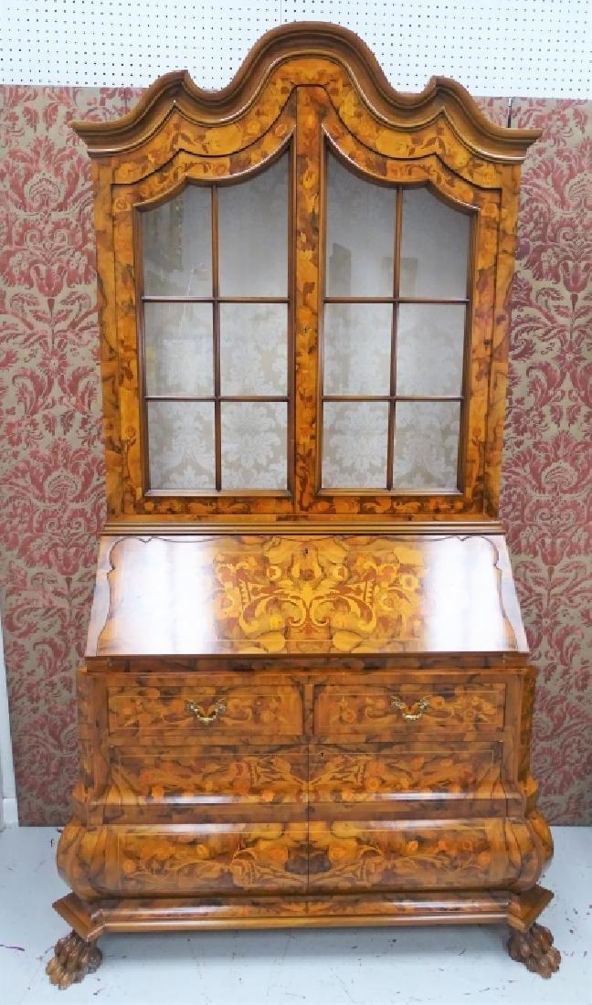 Dutch Marquetry Mahogany Bureau Desk & Hutch