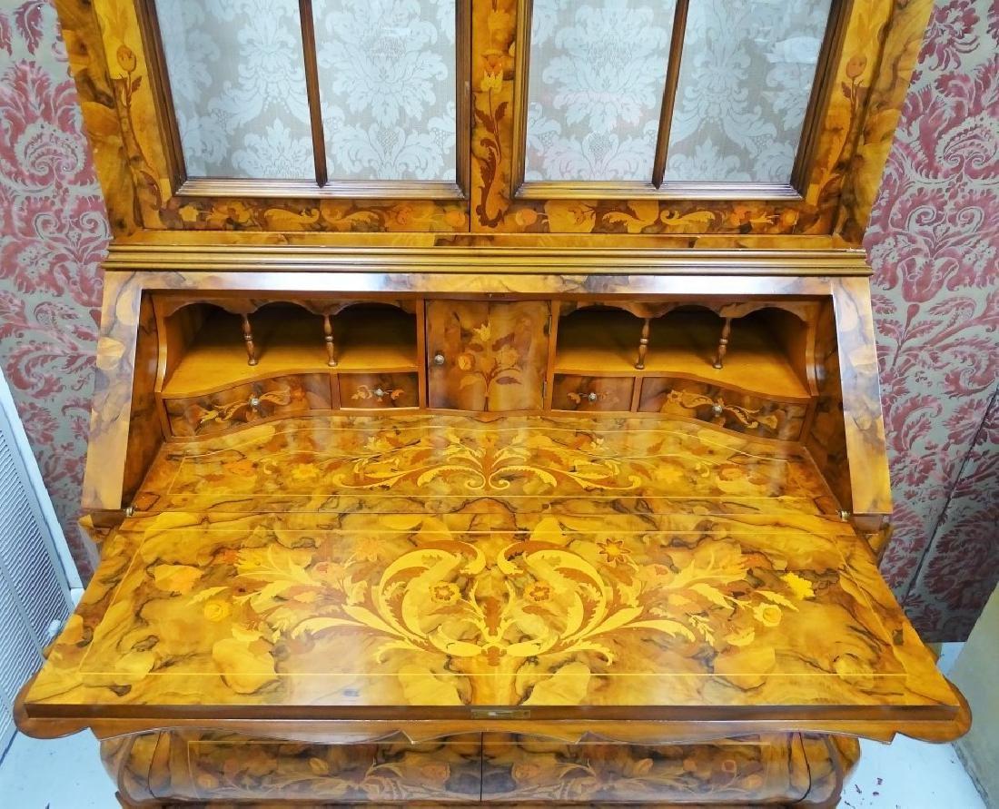 Dutch Marquetry Mahogany Bureau Desk & Hutch - 4