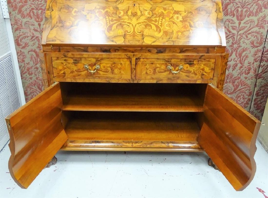 Dutch Marquetry Mahogany Bureau Desk & Hutch - 5