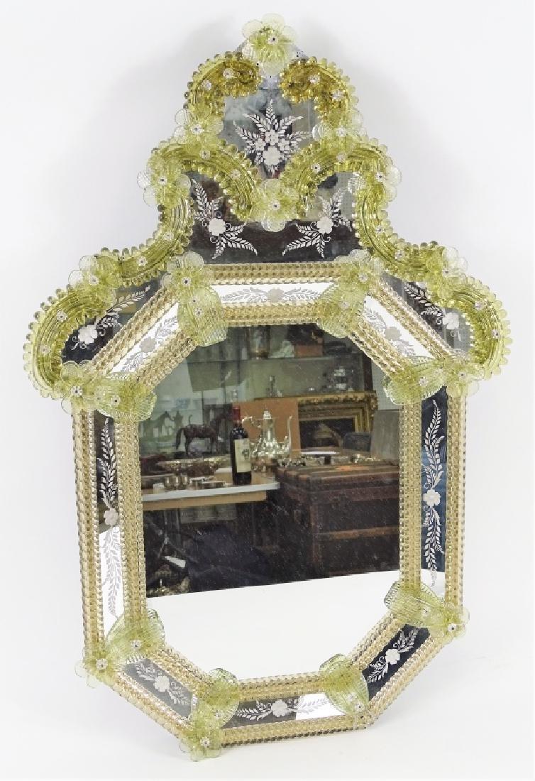 Mid Century Murano Glass Floral Venetian Mirror