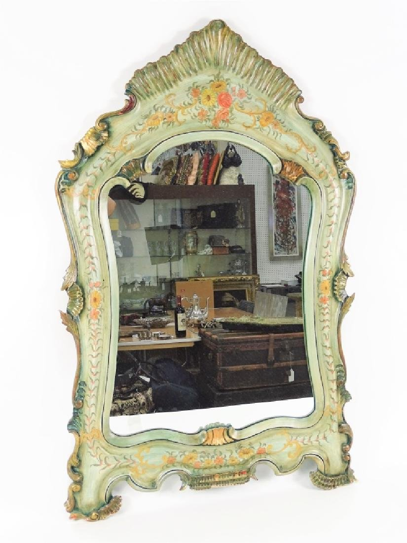 Antique French Hand Painted Carved Wall Mirror