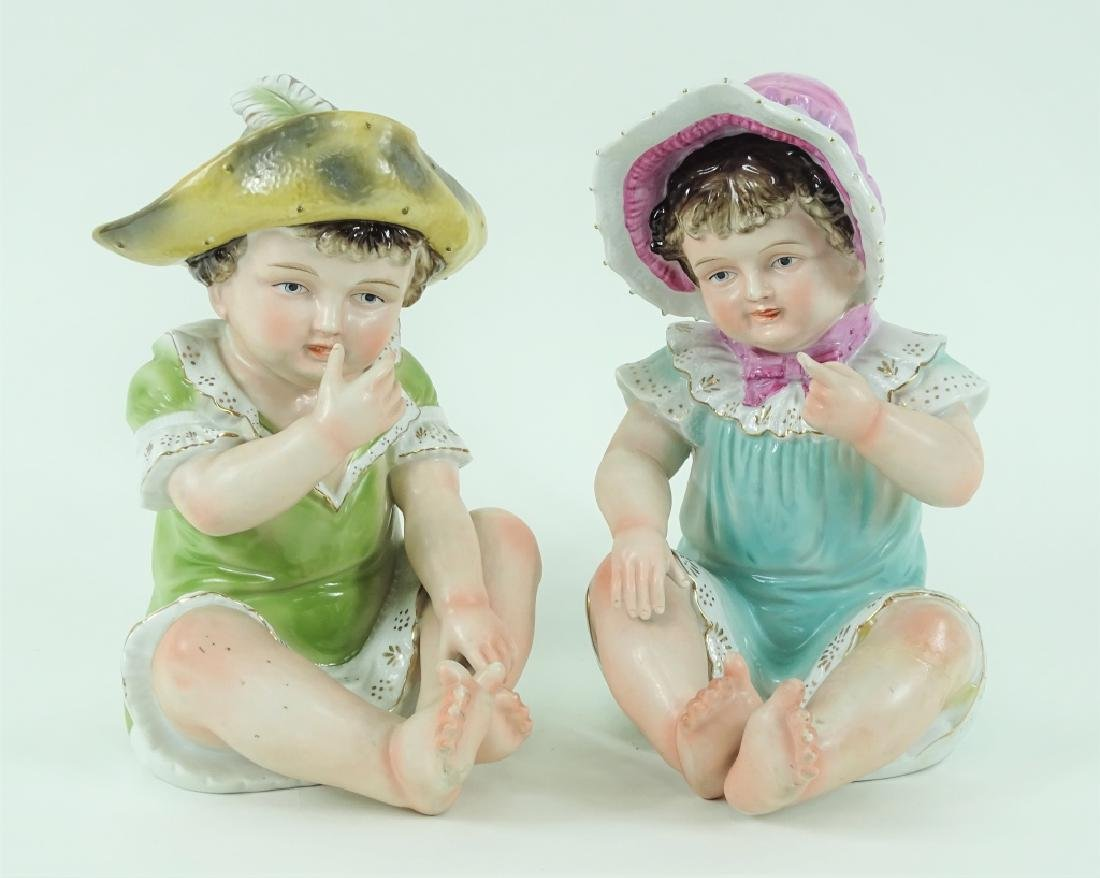 Pair of Camille Naudot Porcelain Baby Boy & Girl