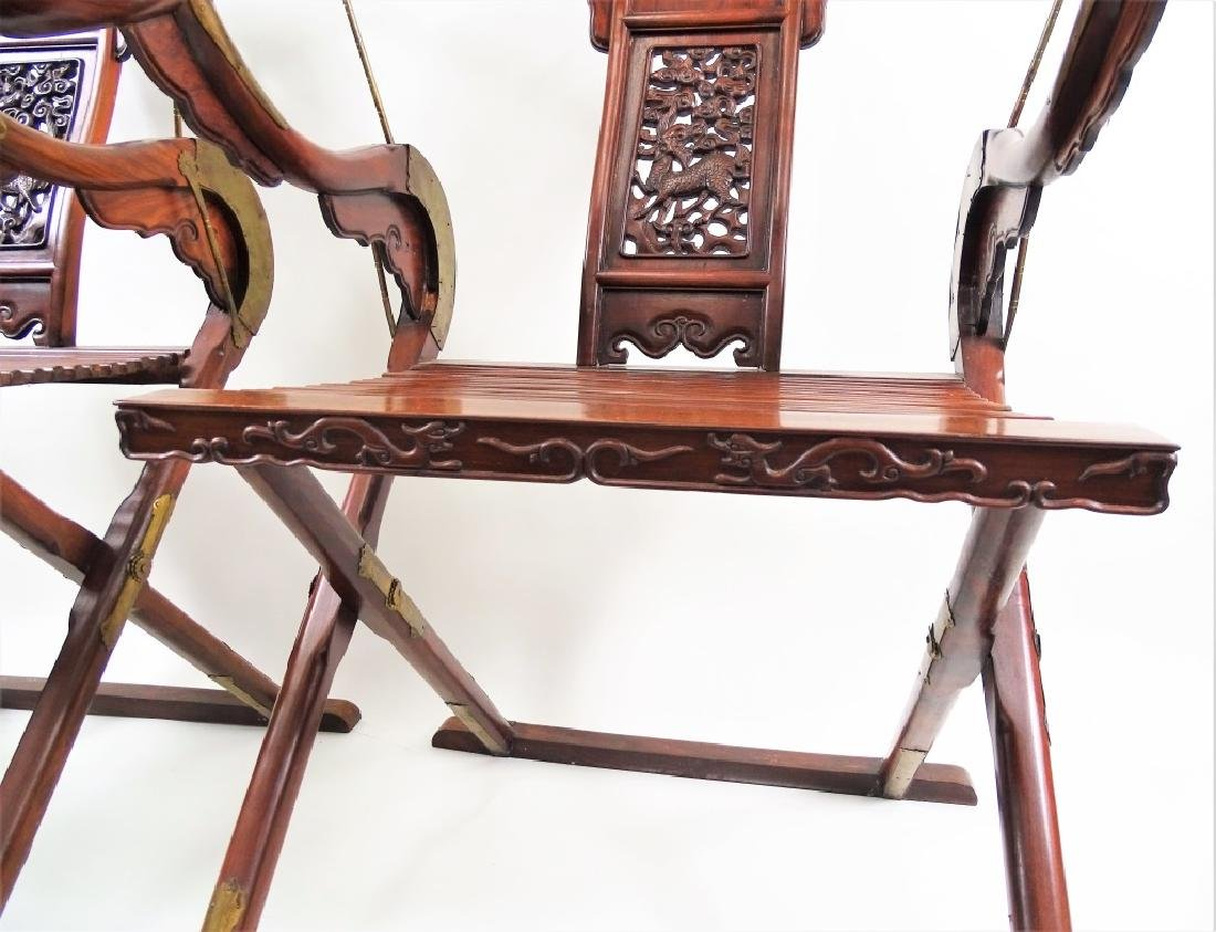 "Chinese ""Chicken Wing"" Wood Horse Shoe Chairs - 4"