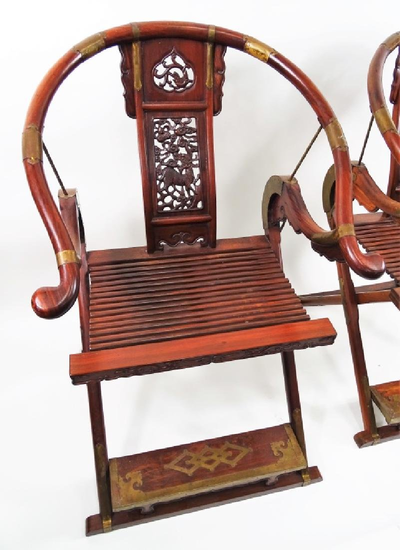 "Chinese ""Chicken Wing"" Wood Horse Shoe Chairs - 5"