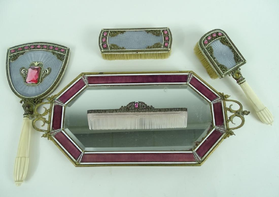 Antique Austrian Guilloche Rhinestone Vanity Set