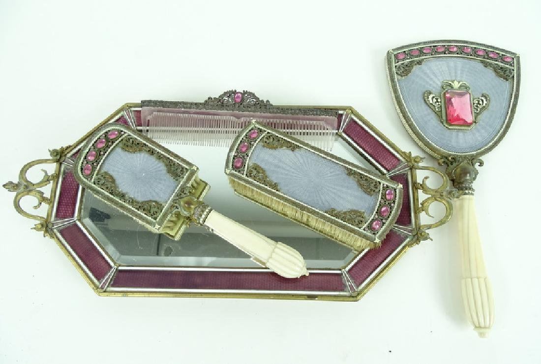 Antique Austrian Guilloche Rhinestone Vanity Set - 2