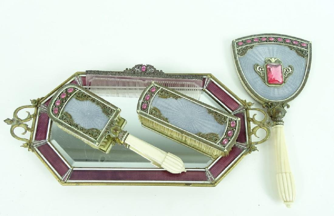 Antique Austrian Guilloche Rhinestone Vanity Set - 3