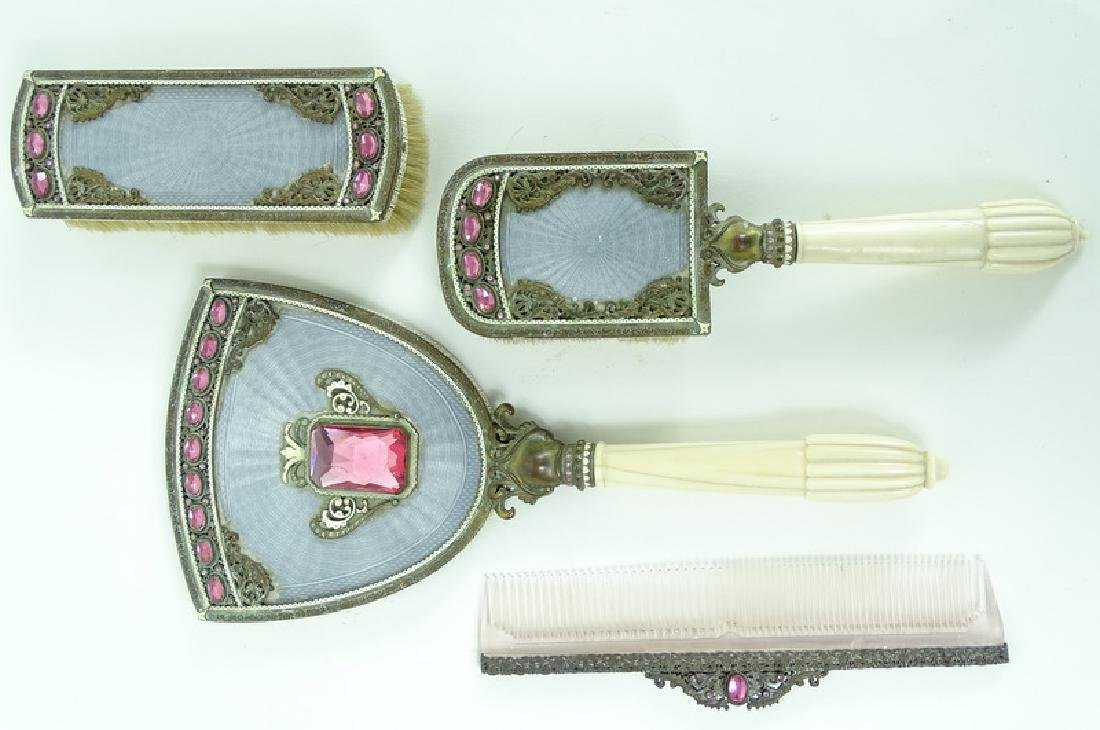 Antique Austrian Guilloche Rhinestone Vanity Set - 6