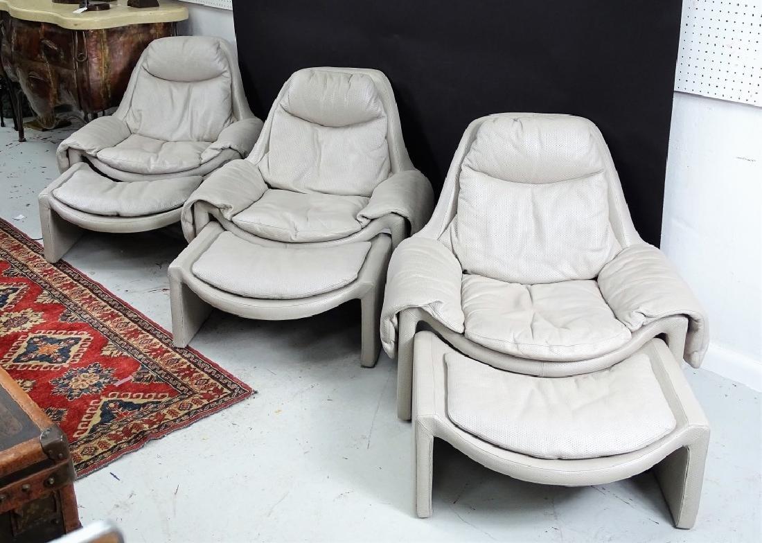 Three Italian Modern Lounge Chairs & Ottomans