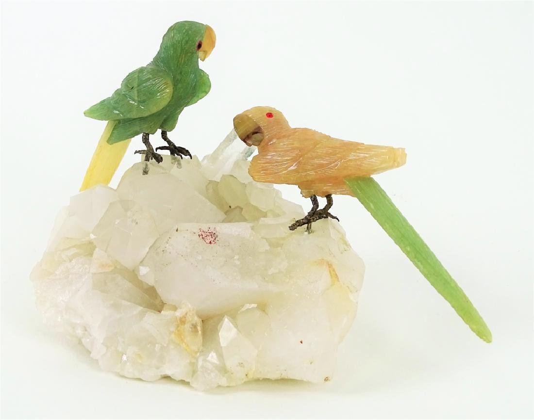 Carved Jade & Rose Quartz Parrots On Rock Crystal